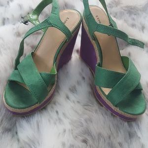 Express green and purple faux suede sandal